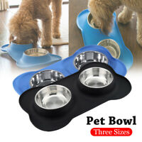 Dog Cat Bowls Stainless Steel No Spill Silicone Mat Pet Water Food Dish