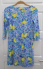Lilly Pulitzer Blue Yellow Lemon Flower Shift Dress sz XXS