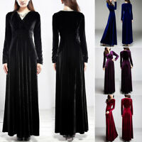 A Line Ladies Long Sleeve V Neck Vintage Solid Velvet Maxi Dress Evening Party