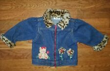 Doll or Stuffed Animal Clothing Zip Up Jean Jacket with Animal Faux Fur Trim