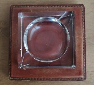 Cendrier en cristal sur socle en cuir surpiqûres (Hermes?)
