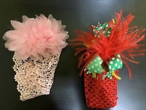 Baby/girls headband 2 pieces pink/red good condition