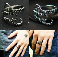 Mens Stainless Steel Biker Gothic Rings Octopus Rings Jewelry Fashion Adjustable
