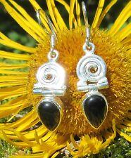Pendientes ónix negro piedra D Signos del Zodíaco STEINBOCK Espiral plata de ley