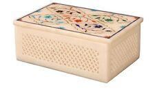 "7""x5"" Marble Jewelry Box Inlay Pietra dura Carnelian Handicrafts Art decor S11"