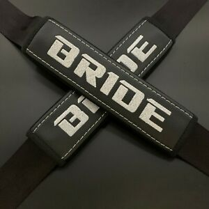 Bride Racing Soft Black Seat Belt Shoulder Pads Covers White embroidery 2PCS