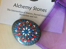 Hand Painted Alchemy Stone with Red, White & Blue Geometric Star Mandala Design