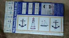 Wall Stencil Nautical Lighthouse Anchor Sail Boat Plaid New