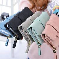 New Women Lady Long Leather Trifold Card Wallet Clutch Checkbook Purse Handbag