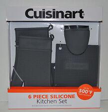Cuisinart 6 Piece Silicone Kitchen Set, Oven Mitt/ Trivet Gray Brand New