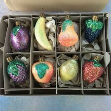 8 Vintage Glass Christmas Ornaments Glitter Fruit Germany Berry Banana Peach