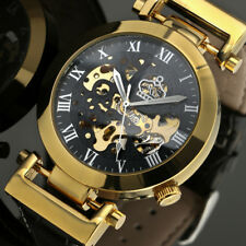 Mens Watch Automatic Mechanical Black Dial Leather Band skeleton Roman Numberals