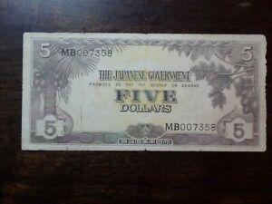 Malaya $5 JIM 1942 Block MB With Serial #  WWII Circulated Japanese Banknote