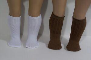 2pr Doll Knee Socks: 1 BROWN & 1 WHITE For 18 American Girl & Logan!  (Debs*)