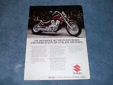 "1986 Suzuki Intruder VS700GL Vintage Motorcycle Ad ""...As Plain as Black & White"