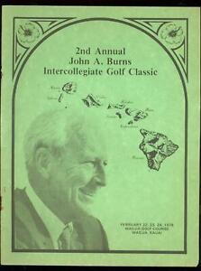 2nd Annual John A Burns Intercollegiate Golf Classic Program February 22 1978