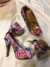 Sexy Hot unique floral heels, leather size 10, ankle collars, purple/pink