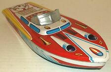 "1960s ST Japan TIN LITHO 12"" SPEED BOAT tub beach pool toy FLOATS NOS dime store"