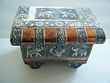 Embossed Silver Copper & Wood Jewelry Box Elephant Design