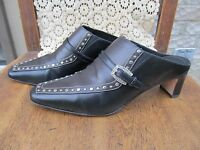 "BRIGHTON BLACK/BROWN  LEATHER MULES ""TEMPE"" 2 INCH HEELS SIZE 7 M"