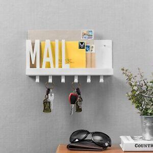 Matte White Mail Cutout Metal Wall Mounted Mail Sorter Shelf w/ 6 Key Hooks