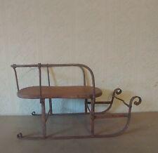 BEST Antique Primitive Victorian Iron Wood Doll Sled Original Christmas AAFA