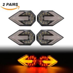 4x Universal LED Motorcycle/Bike Amber Red Dynamic Turn Signal Indicator Lights