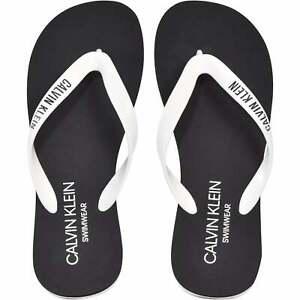 Men's Calvin Klein Classic Logo Flip Flops, Black/white