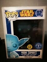 Funko Pop Star Wars Yoda Spirit 02 box damage. glow in the dark pop protector