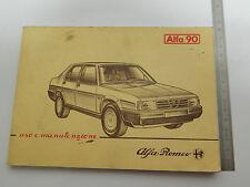ALFA ROMEO ALFA 90 PRIMA SERIE 1984  MANUALE USO MANUTENZIONE ORIGINALE