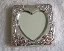 "SILVERPLATED FRAME W/ HEART SHAPED CENTER FITS 2 1/2 "" PHOTO,FOR VALENTINES DAY"