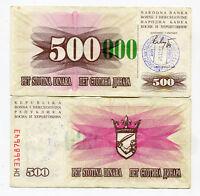 Bosnia 500(000) Dinara 1993 VF Stamp Sarajevo Tall Green 0´s Very Rare Banknote