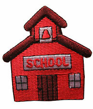 #3870 School House w SCHOOL word Embroidery Iron On Applique Patch