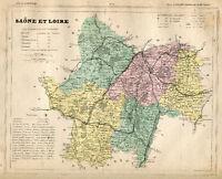 Genuine Original Antique 1877 France Hand Colored Map SAONE ET LOIRE French