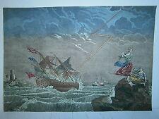 Vue optique 18° tempéte sur mer  vaisseau marine royale