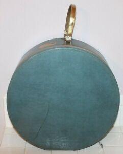 VTG 1940s MUNRO ZIP-O-NITER BLUE ROUND TRAVEL LUGGAGE BAG HAT BOX SUITCASE