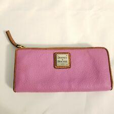 Dooney & Bourke Pebble Grain Large Zip Around Wristlet Wallet Purple