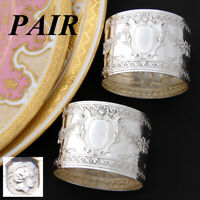 PAIR: Elegant Antique French Sterling Silver Napkin Rings, Ornate Floral Garland
