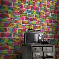 Rasch Graffiti Brick Wall Multi Neon Pink Green Kids Girls Wallpaper 291407