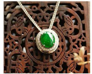 Authentic Grade A  Jadeite Jade Diamond Accent Pendant in Solid 18K Gold