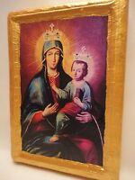 Madonna and Child Virgin Mary Roman Catholic Religious Icon Art on Wood Plaque