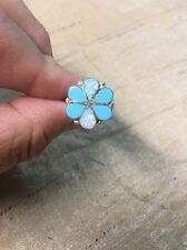 Native American Womens Zuni Turquoise /Opal Large Flower Ring Size 8 Navajo Wow!