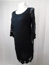 Alfani Plus Size Crochet Trim Lace Shift Dress 1X Deep Black #3605