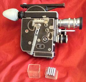 H16 Reflex Bolex 16mm Flat Base Camera with External Mag Setup and 3 Lenses (NR)