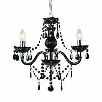 Marie Therese Traditional Black & Chrome Ceiling Fitting Chandelier - 3 light