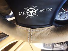 Si adatta Mazda MX5 MK1 89-97 Volante in Pelle Beige Copertura bianca doppia cucitura