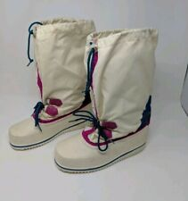 Vintage White Sorel Waterproof Snow Boots Pink Blue Wool Liner Woman's Size 6