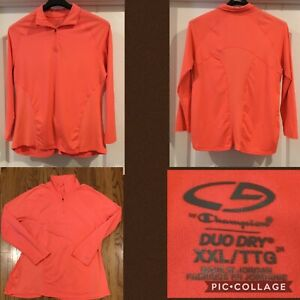 Champion Ladies Top Size XXL Long Sleeve Pullover Zip Orange 90% Polystr 10% Spa