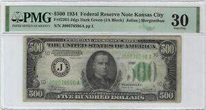 $500 1934 Federal Reserve Note Kansas City PMG VF30