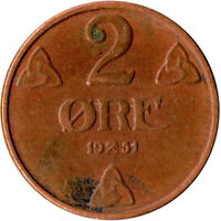 COIN / NORWAY / 2 ORE 1951  #WT1963